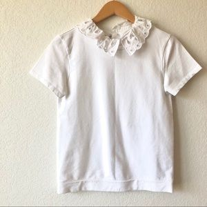 Halogen Tee with removable collar, Size XS